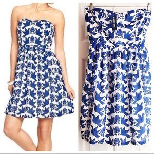 Old Navy Blue Bird Strapless Sweetheart Mini Dress